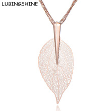 LUBINGSHINE Woman Jewelry Leaf Pendant Necklace Rose Gold/Silver Color Leaves Long Layer Chain Necklaces Christmas Jewellery(China)