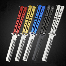 Stainless Steel Folding Butterfly Knife Balisong Style CS GO Multicolor Knife Comb Stunning Practice Training Tool Outdoor Tools(China)