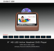 "2pcs Clip-on 9"" HD LED Screen Brown Car DVD Player Headrest Car Monitor Player + IR FM USB SD Game Joystick Multi-language OSD"