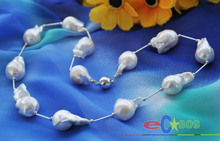 "wholesale Huge 20"" 25mm white baroque KESHI REBORN PEARL SILVER NECKLACE"