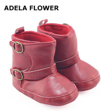 Adela Flower Autumn/Winter Fashion Girls Cowboy Boots PU Leather Baby Girl Boots Infant Toddler Boy Winter Shoes bota infant(China)