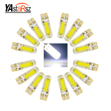 10pcs T10 COB LED Silica Gel Car Door Light 194 W5W 168 Wedge Base crystal blue white blue yellow red bulb car styling(China)