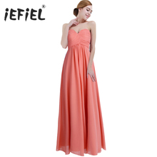 Summer Vestidos dress Ladies Chiffon Strapless Long Prom Gown Dresses Elegant Clothing for Bridesmaid Dinner Dress Party Dress