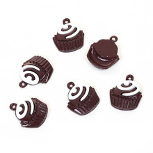 "DoreenBeads Zinc Based Alloy Charms Cake Pendant White Coffee Painting 23mm( 7/8"") x 20mm( 6/8""), 10 PCs"