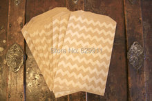 Free shipping 100pcs/lot chevron brown Kraft Favor Paper Bags as Wedding Party decorations(China)