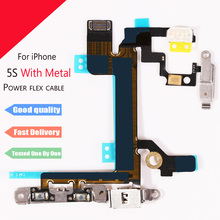 1Pcs New For iPhone 5S  Power Mute Volume Control Button Switch on/off Power Flex Cable