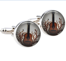 1Pair  Free-Shipping Steampunk Guitar cufflinks retro Guitar in tree branches Art Cufflinks Musical Jewelry Mens Accessories