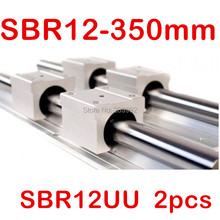 Free shipping SBR12 linear guide :2pcs SBR12-L350mm Linear guide + 4pcs SBR12UU Linear Bearing Blocks (can be cut any length)(China)