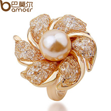 BAMOER High Quality  Rose Gold Color Imitation Pearl Ring for Women Anniversary Made with AAA Zircon Luxury Jewelry JSR007