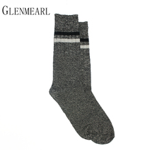 Cotton Men Socks Striped Brand Compression Autumn Winter Thick Warm Coolmax 50 Business Men Black White Short Male Boot Socks(China)