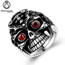 2017 New Fashion Motor Cycle Biker Style 316l Skull Shape Red Zircon Surgical Stainless Steel Cool Ring For Men Jewelry Gift(China)