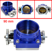 Top Quality Universal 90mm Throttle Body Throttle Valve Blue Air Intake Throttle Body Spacer - Speedway(China)