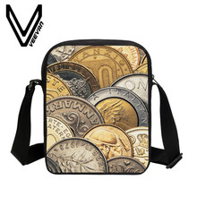 VEEVANV Brand 2017 Coin Image Bookbag 3D Prints Messenger Bags PU Design Handbags Single Shoulder Bags New Student Crossbody Bag