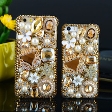 DIY Diamond Bag Flowers Bling Crystal Stones Luxury Decoration Cases for Samsung Galaxy S8 plus S7 S6 edge Plus S5 Note 5 4 3