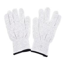 1Pair Magic Pulse Massage Gloves Silver Fiber Conductive Electrotherapy Massage Electrode Gloves Use For Tens Machine(China)