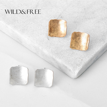 Women Antique Gold Silver Square Stud Earrings Vintage Zinc Alloy Simple Geometric Stud Earrings Jewelry Female Gift(China)