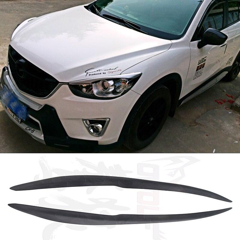 CX-5 FRP Primer Car  Headlight Eyelid Eyebrow Cover Trim Sticker for Mazda CX 5 2012-2016 Ducks-garden Style<br>