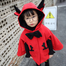 2016 new autumn winter spring fashion baby girl coat kids hooded red big bow long sleeve jacket children cape cloaks clothing