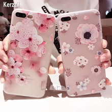 Kerzzil Ultra thin Silicone Slim Soft Phone Case For iPhone 6 6s 7 plus peach Flower For iphone se cases Coque Cover lina