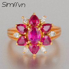 Simffvn Halo Women 0.75 CT Flower Shape 6.08*4.32mm Ruby 18K white Gold Ring Anniverary Jewelry Engagement Ring Promise Ri