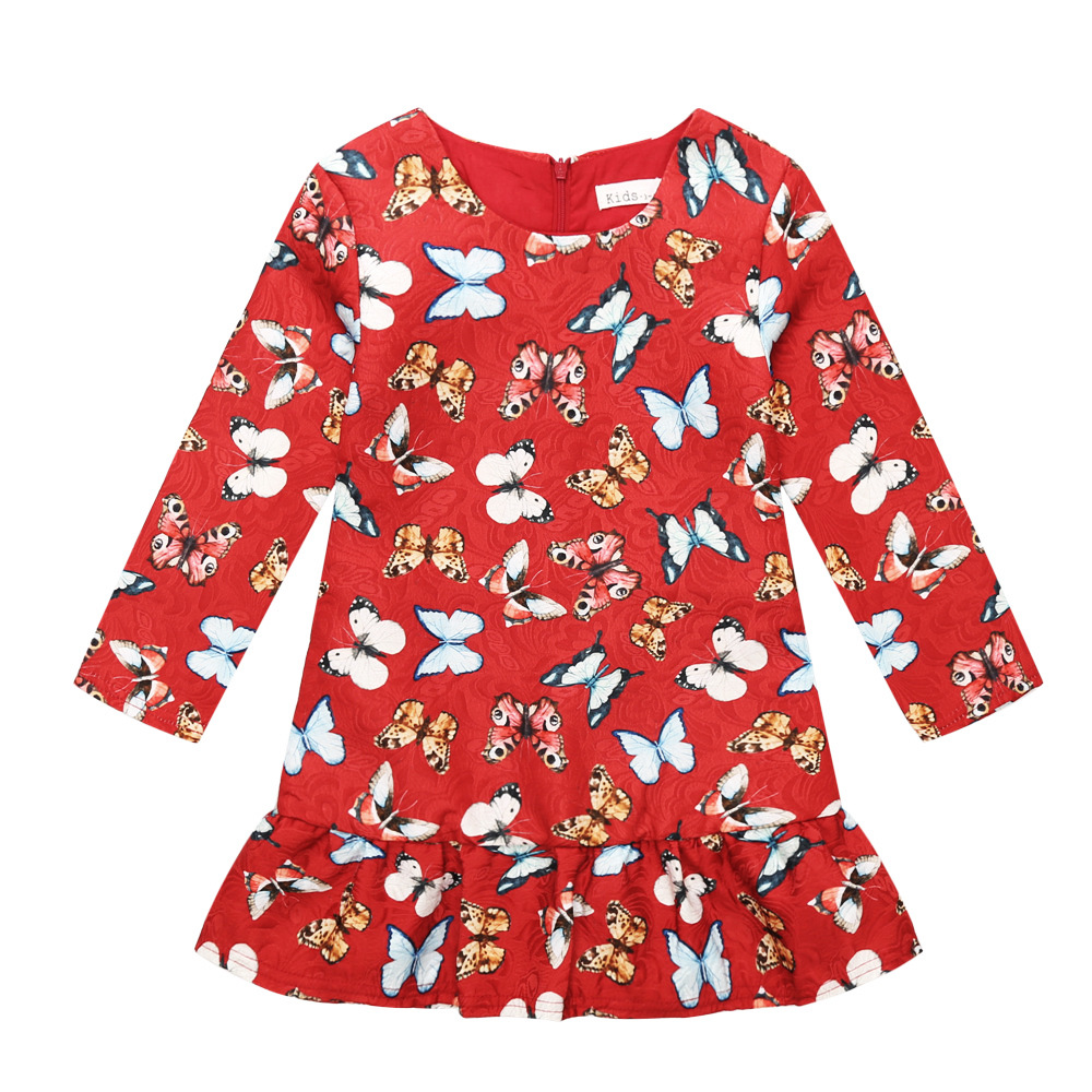 Girl Dress Winter 2017 Toddler Kids Dress for Girls Children Clothing Butterfly Princess Party Wedding Holiday Red Clothes<br><br>Aliexpress