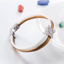 New Bracelet Cube Bead with Zircon Crystals Real Leather Bracelet Wristband Fashion Women Bracelet Jewelry for Lady Gifts