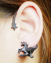 2015 New 1 pcs Fashion Punk Rock Stereoscopic Running Horse Unicorn Star Lady Stud Earring for left ear Gold(China)