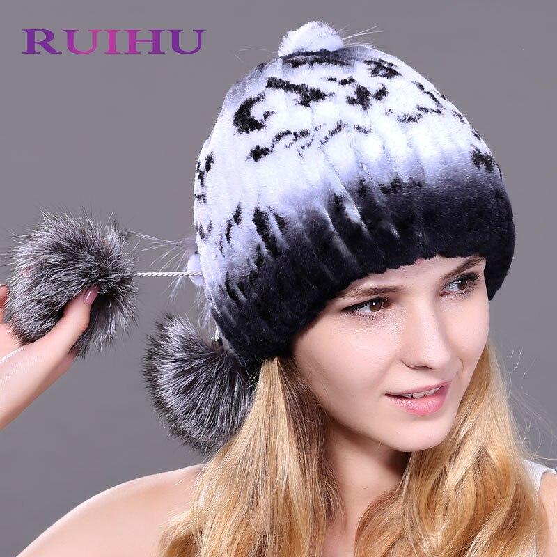 88c95beba23 Raglaido Pom Pom Beanies Rex Rabbit Fur Hat Russian women snow caps Genunie  natural fur Knit ...