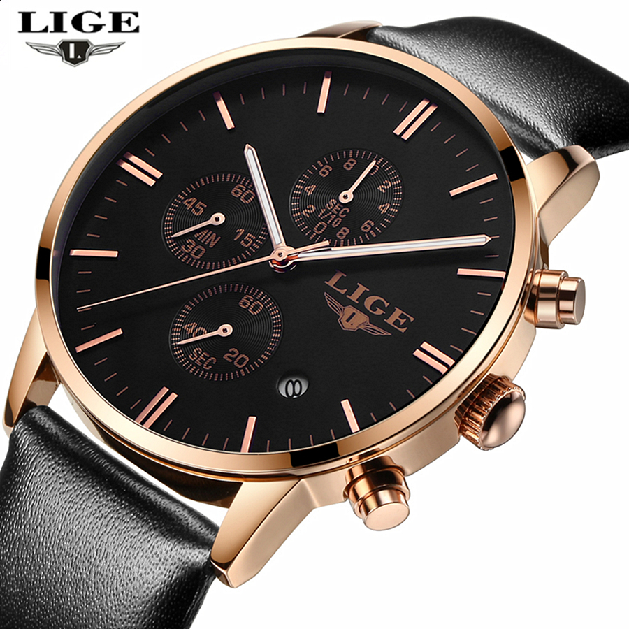 LIGE Brand Simple Fashion Casual Business Watches Men Waterproof Date Leather strap Quartz Mens Watch Clock Relogios Masculino<br><br>Aliexpress