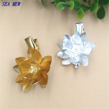 SEA MEW 26mm Fashion Hairgrips Flowers Base Hair Clip Setting Silver Gold Color Duck Clip DIY Jewelry Accessories For Women(China)