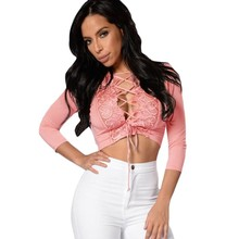 Black pink crochet lace trim lace up front long sleeve short top sexy 2016 women clubwear tops tight vestido de noiva S25916