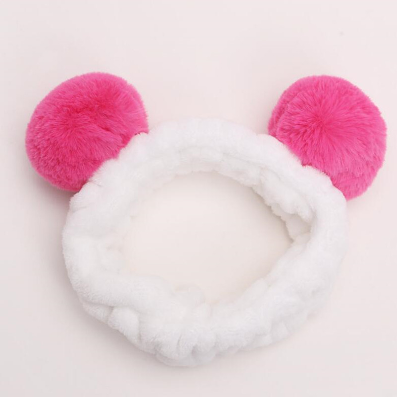 Lovely Plush Pompon Ball Headband Women Lady Girls Wash Face Hairband Hair Accessory Facial Spa Headwear    Halloween Christmas