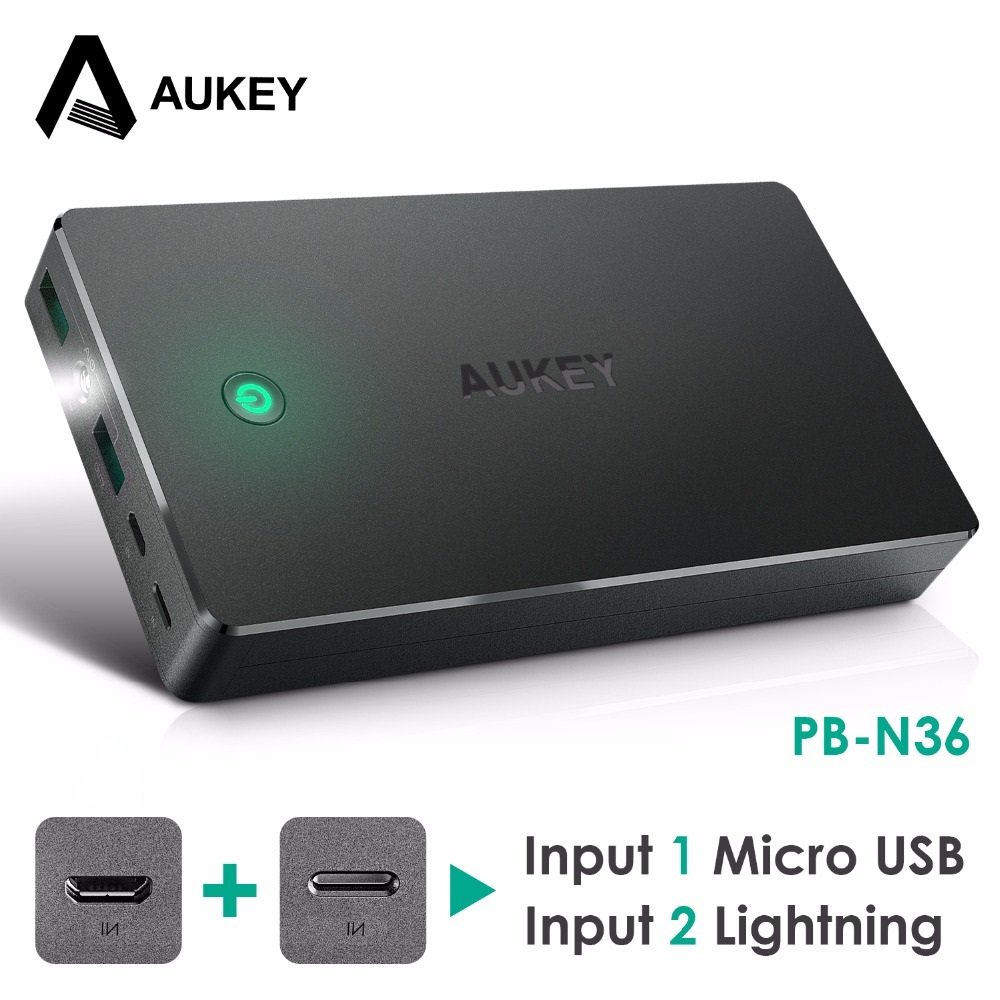 AUKEY 20000mAh Power Bank Dual USB External Power Batteries Portable Mobile Phone Charger Xiaomi iPhone 6s Samsung galaxy s8