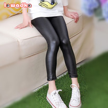 Thin Girls Faux Leather Pants Fashion Leggings Spring Children Pants(China)