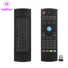 MX3 Air Mouse Backlight MX3 Wireless Keyboard 2.4G IR Learning Fly Air Mouse Backlit For Android TV Box Smart TV(China)