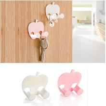 1PC Lovely Sticky Apple Shape Plug Linked Holder Hooks housekeeper decorative wall hooks Wall Hook organizer Bag Hanger home(China)
