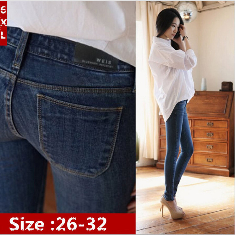 6 EXTRA LARGE New Winter Womens Jeans Plus Thick Velvet Korean Woman Jeans Slim Thin Pencil Pants Feet Trousers Free shipping  Одежда и ак�е��уары<br><br><br>Aliexpress