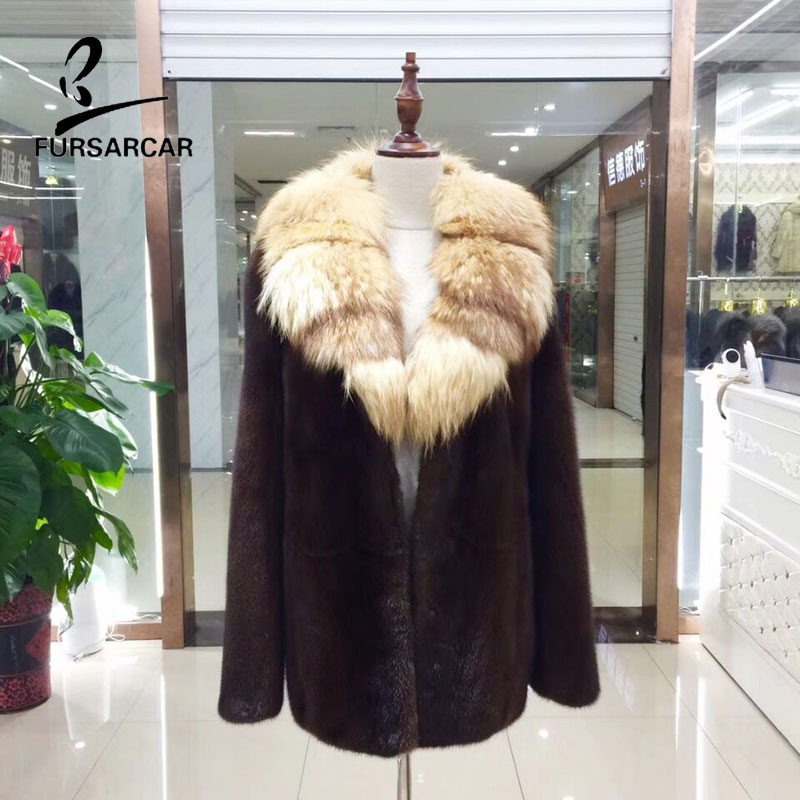 FURSARCAR Impor Real Mink Fur Coat Women Winter New Style Real Mink Fur Collar Outwear Fremale Genuine Leather Fur Coa