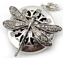 Round Hollow Dragonfly Can Open Pendant Necklace Personality Placed Essential Oil Incense Of The Vintage Women Necklace Jewelry(China)