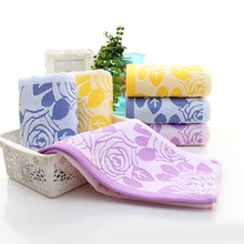Cut Pile Cotton Rose Flower Face Towel Beach Bath Absorbent Drying Cloth For Travel Practical(China)
