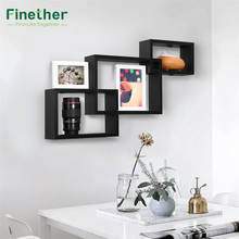 Finether 3-Piece Intersecting Rectangular Floating Decorative Wall Shelves Wall Mounted Bookcase Storage Display Organizer Black(China)