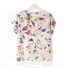 2017 Women Lady Fashion Trendy Fancy Korean Style Chiffon Loose Blouse Multicolor Birds Print Casual Tops S/M/L