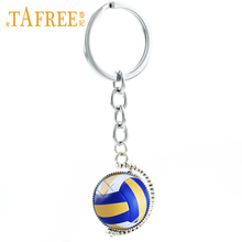 TAFREE sports double sides Beach Volleyball keychain jewelry men Basketball Rugby Football Tennis Golf Ball key chain ring T255