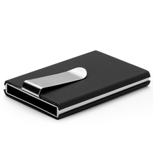 High Quality credit card holder Automatic card sets business aluminum wallet Solid color card sets card wallet cash clip holder(China)