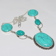 Turquois Necklace Silver Overlay over Copper ,51.3cm, N1111(China)