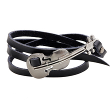 NANBO SPX8752 New Unisex Vintage Fashion Black Leather Music Guitar bracelets & bangles Fine Jewelry For Men(China)
