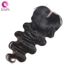 Eva Hair 4x4 Lace Closure Bleached knots Brazilian Body Wave Natural Color Remy Human Hair 8-18inches Middle Part With Baby Hair