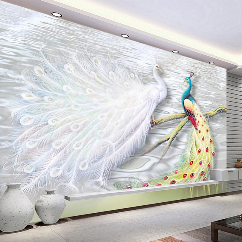 Custom Photo Wall Paper 3D Peacock Large Murals Living Room Bedroom Sofa TV Background Decor Wall Mural Straw Textured Wallpaper<br><br>Aliexpress
