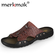 Buy Merkmak 2018 New Men Genuine Leather Holiday Beach Shoes Flip Flops Men's Casual Flat Shoes Sandals Summer Slippers Men for $18.52 in AliExpress store