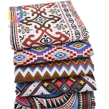 african geometry Printed organic Cotton Linen Fabric For Quilting Sewing DIY Sofa Table Cloth Tissue Bag Cushion curtain Fabric(China)